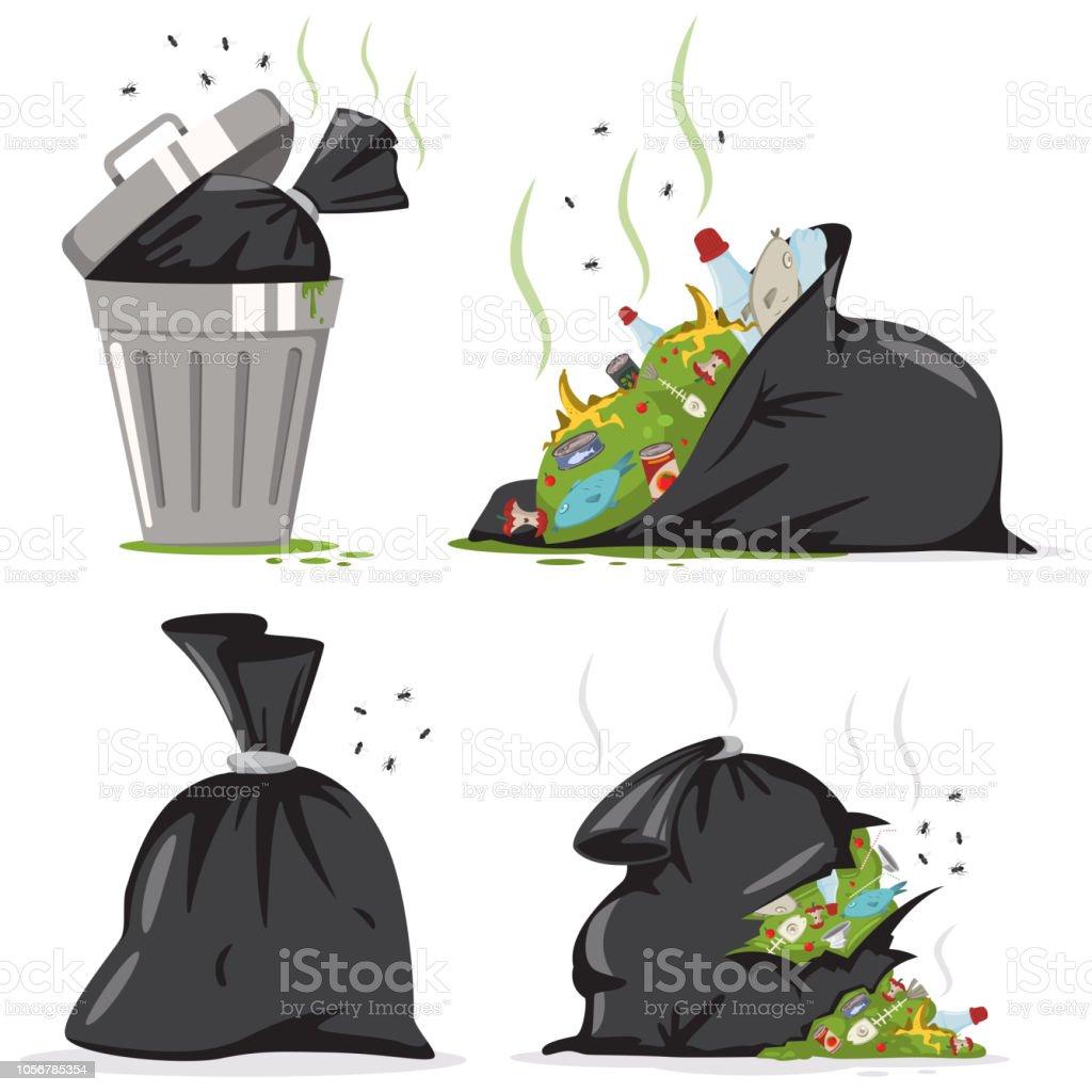 Ilustración De Bote De Basura Y Residuos De Bolsa Negra De Plástico