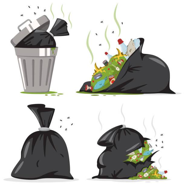 illustrations, cliparts, dessins animés et icônes de poubelle et sac noir avec du plastique et de la nourriture des déchets. caricature de vecteur ordures mis isolé sur fond blanc. - dechets