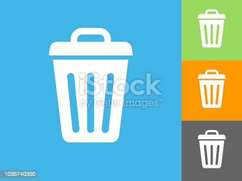 Trash Can Flat Icon on Blue Background. The icon is depicted on Blue Background. There are three more background color variations included in this file. The icon is rendered in white color and the background is blue.