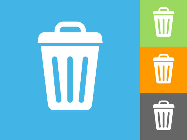Trash Can Flat Icon on Blue Background vector art illustration