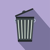 Trash can flat icon for web and mobile devices