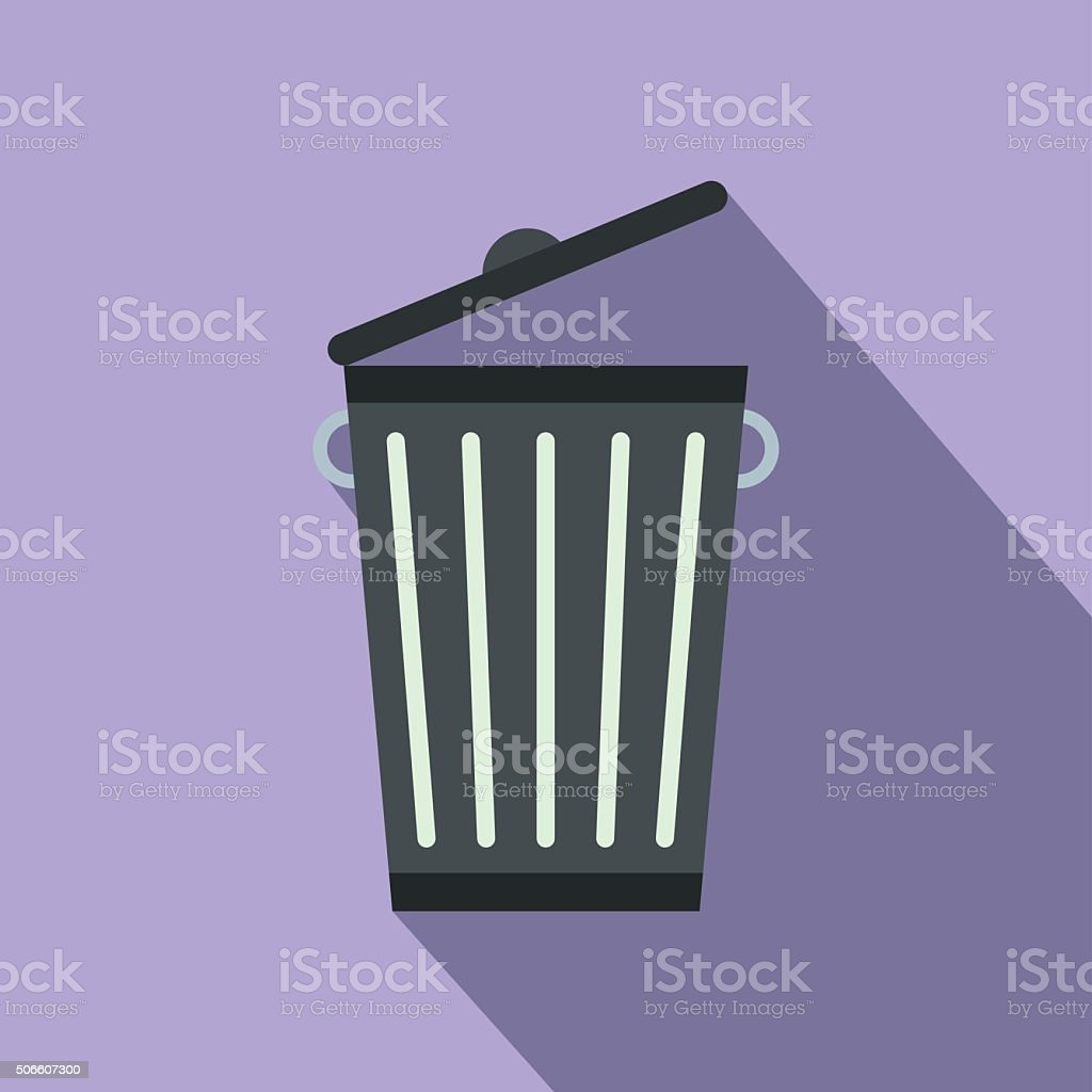 Trash can flat vector art illustration