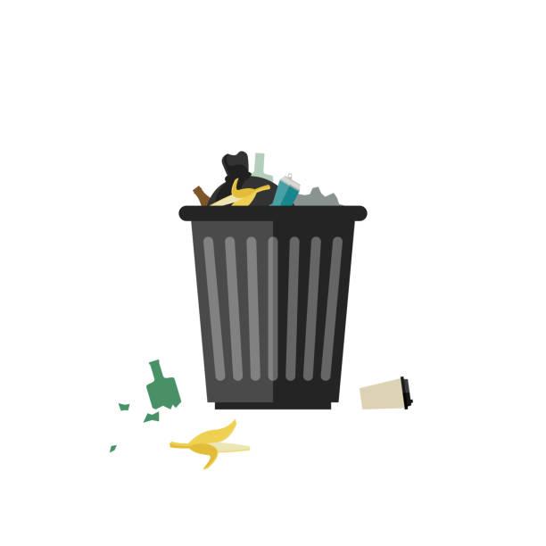 illustrations, cliparts, dessins animés et icônes de poubelle peut complet - dechets