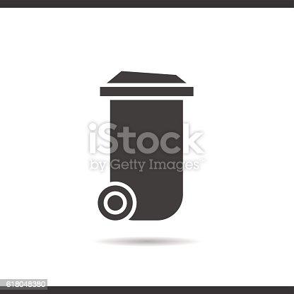 trash can icon drop shadow silhouette symbol イラストレーションの