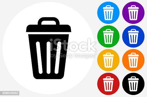 Trash Can Icon on Flat Color Circle Buttons. This 100% royalty free vector illustration features the main icon pictured in black inside a white circle. The alternative color options in blue, green, yellow, red, purple, indigo, orange and black are on the right of the icon and are arranged in two vertical columns.