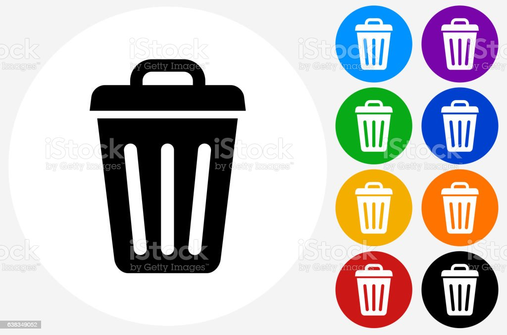 Trash Can Icon on Flat Color Circle Buttons vector art illustration