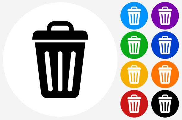 illustrations, cliparts, dessins animés et icônes de trash can icon on flat color circle buttons - dechets