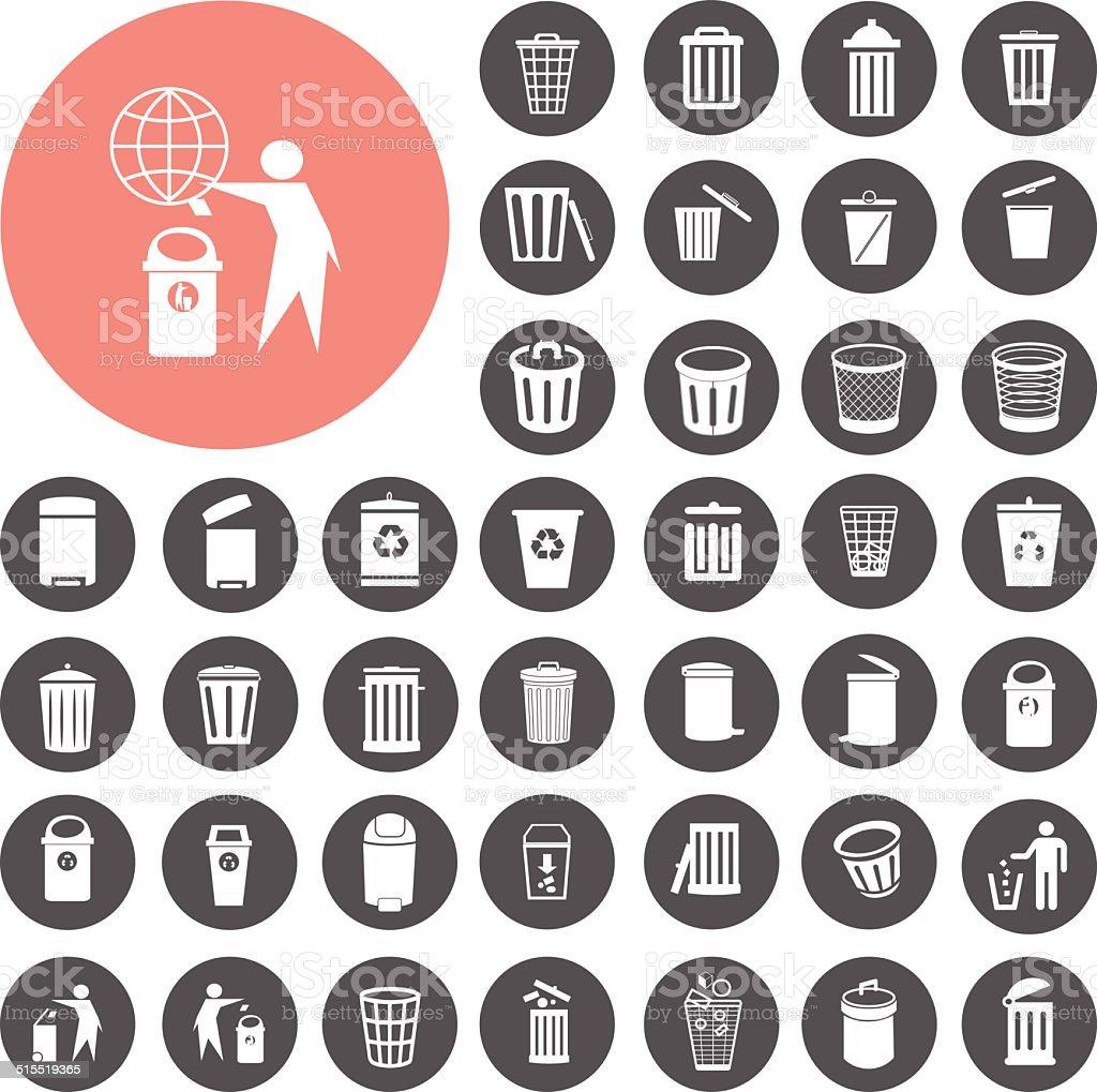Mülleimer icons set.  Illustration eps10 – Vektorgrafik