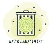 Line Style Vector Illustration for Waste Management