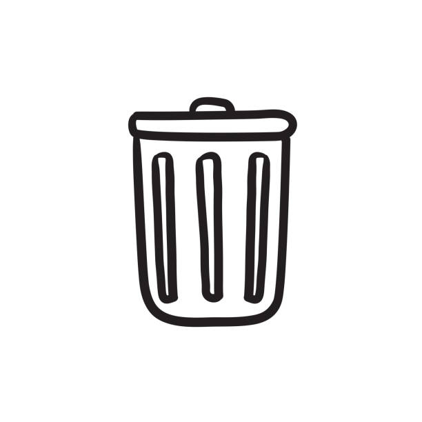 royalty free silhouette of the how to draw a garbage can clip art