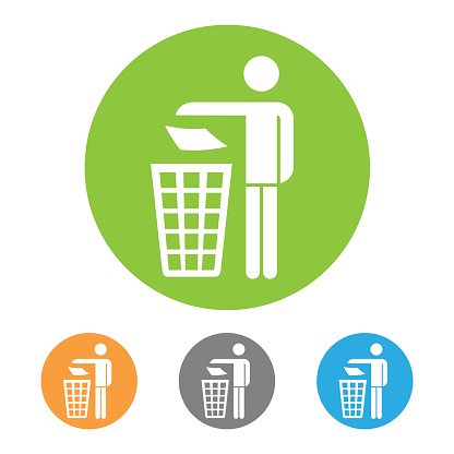 Trash can with human figure icon