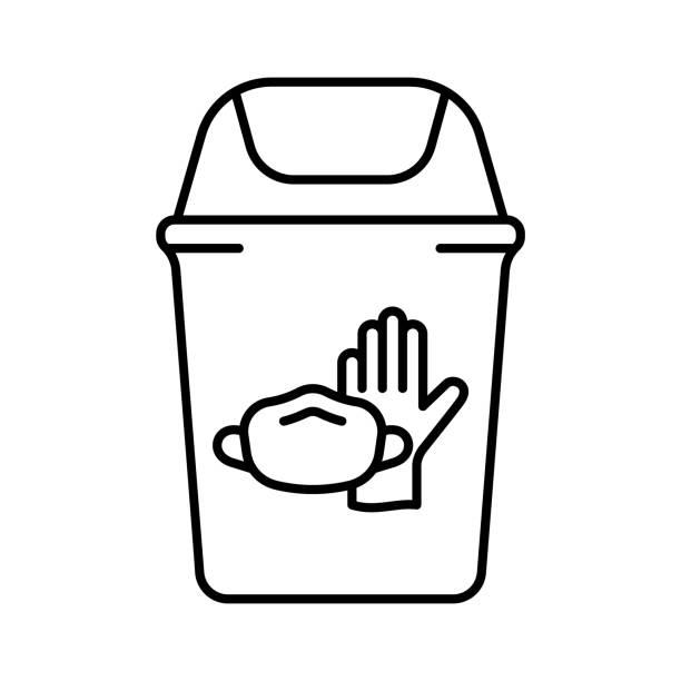 papierkorb mit latexhandschuh, gesichtsmaske. - flat icons stock-grafiken, -clipart, -cartoons und -symbole