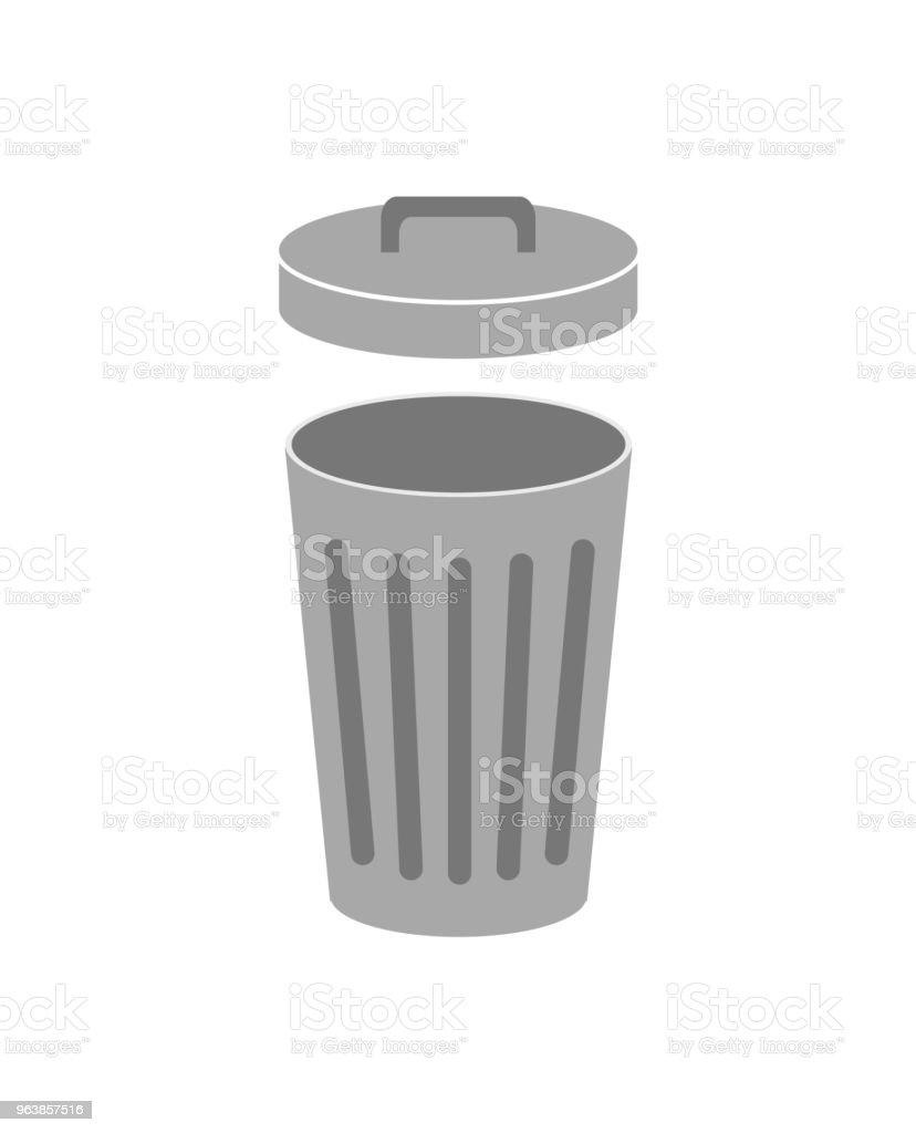 Trash can with lid open. Isolated on white background. Vector illustration. royalty-free trash can with lid open isolated on white background vector illustration stock illustration - download image now
