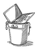 Trash Can With Old Laptop Computer And Cables Drawing