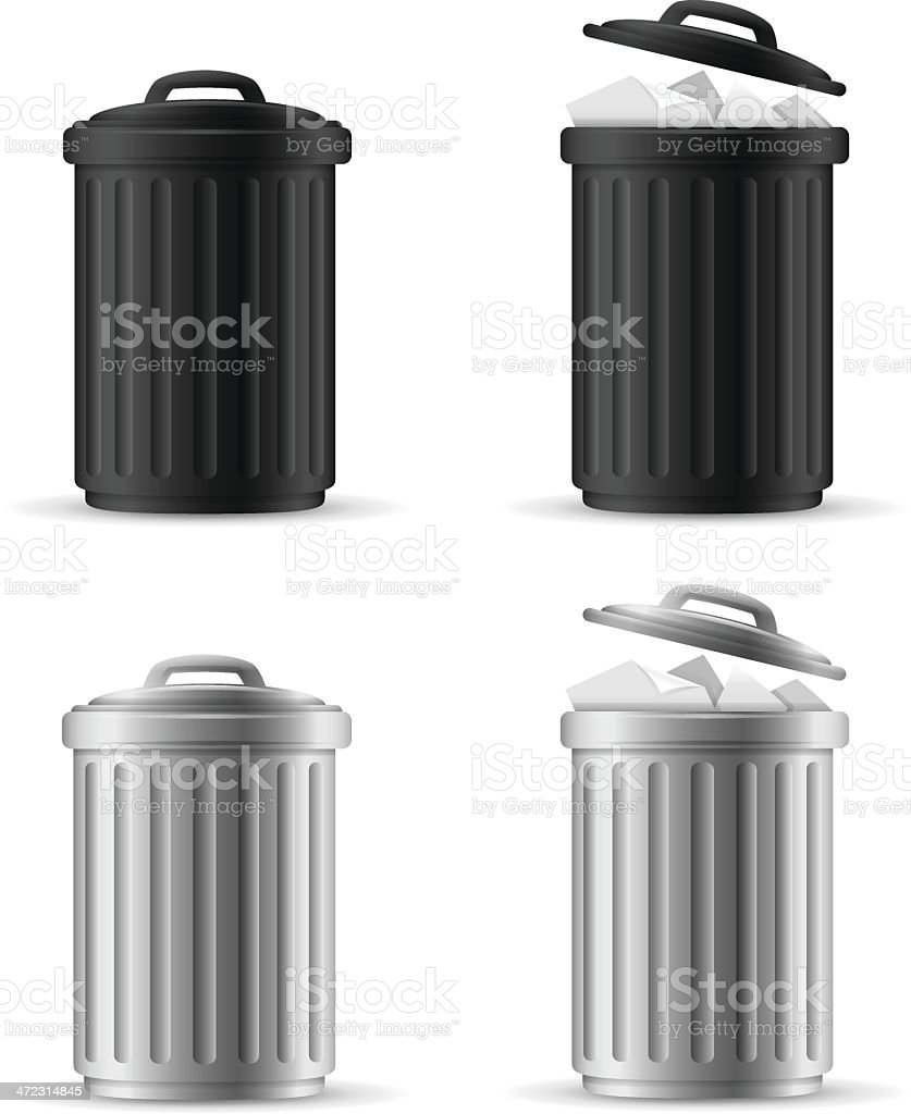 Trash Cans vector art illustration