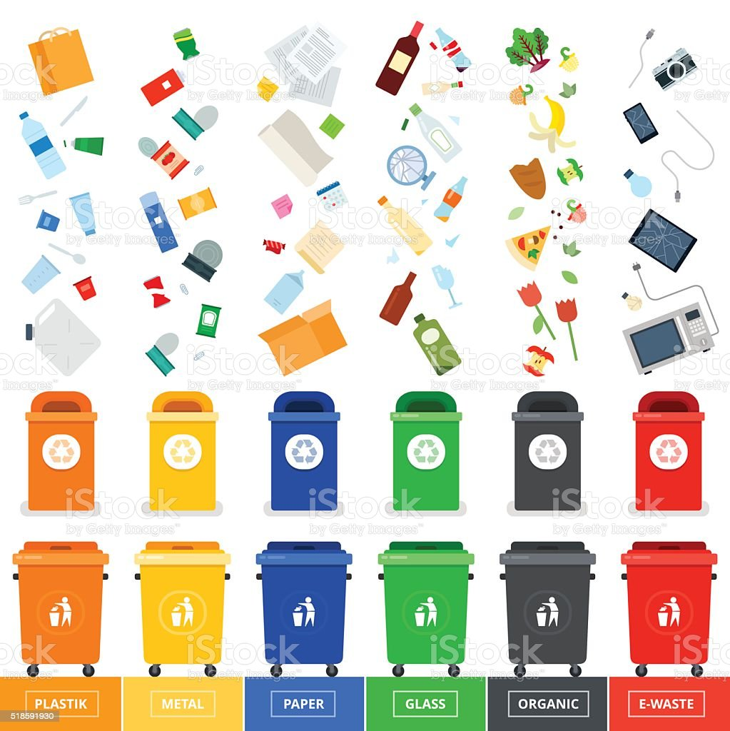 Trash cans with srted garbage vector art illustration