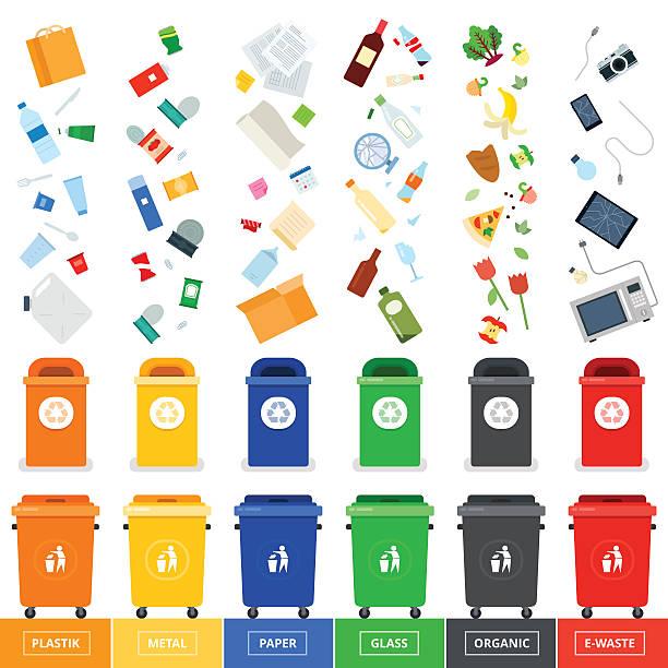 illustrations, cliparts, dessins animés et icônes de poubelle avec les déchets srted canettes - recyclage