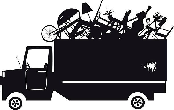 Trash collection clip-art Black vector silhouette of a waste collection truck filled with garbage, EPS 8, no white objects obsolete stock illustrations