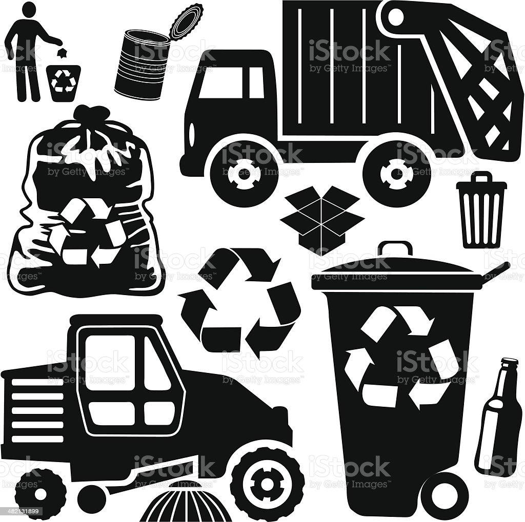 trash day vector art illustration