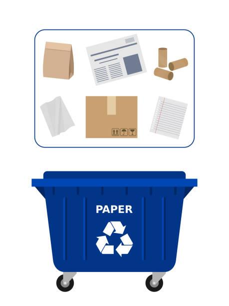 ilustrações de stock, clip art, desenhos animados e ícones de trash dumpster for paper waste suitable for recycling. paper recycle, segregate waste, sorting garbage, eco friendly, concept. - box separate life