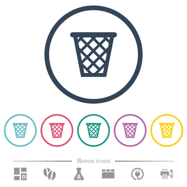 trash flat color icons in round outlines - electrical wiring home stock illustrations, clip art, cartoons, & icons
