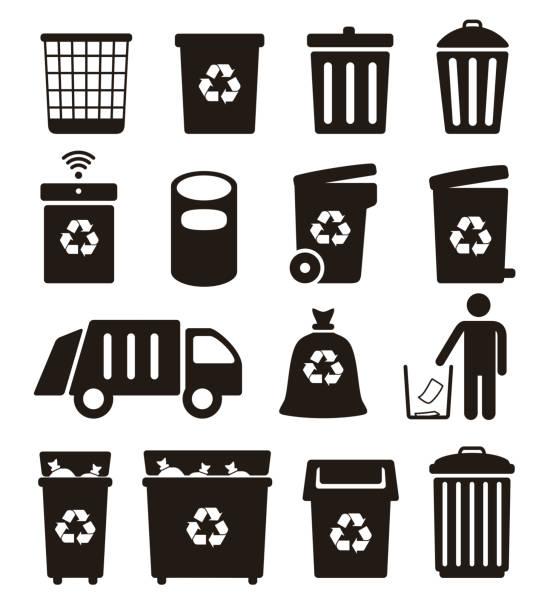 illustrations, cliparts, dessins animés et icônes de trash, garbage and recycling can icons, vector illustration - dechets