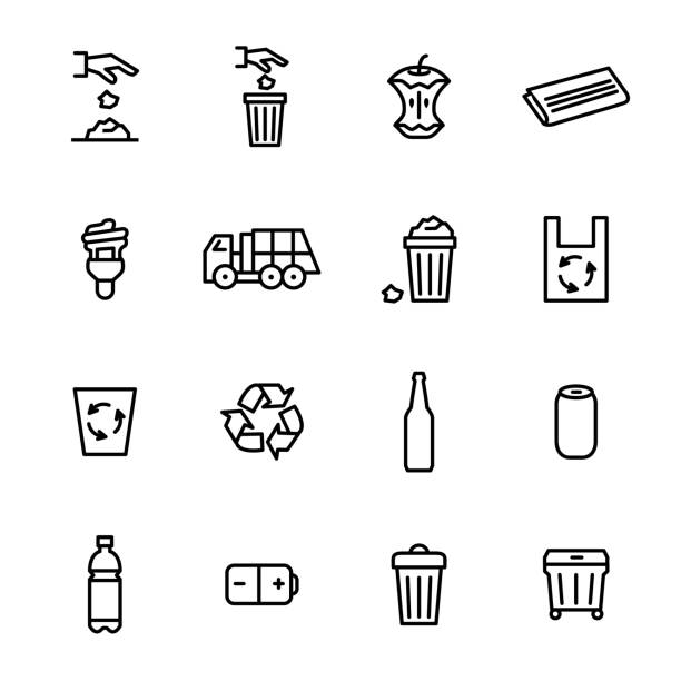 Trash Garbage Related Signs Black Thin Line Icon Set. Vector Trash Garbage Related Black Thin Line Icon Set Include of Lamp, Bag and Glass Bottle. Vector illustration of Icons bottle stock illustrations