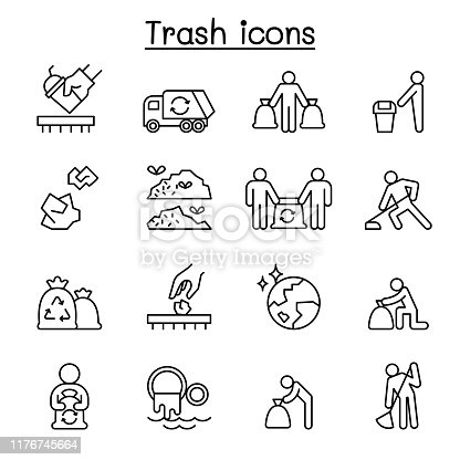 Trash, garbage, rubbish, dump, refuse icon set in thin line style