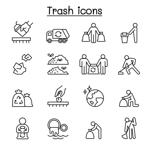illustrations, cliparts, dessins animés et icônes de trash, ordures, ordures, décharge, icône de dépotoir set dans le modèle mince de ligne - dechets