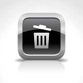 Trash Glossy Button Icon