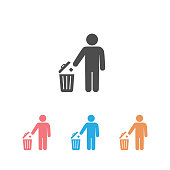Trash icon set isolated on a white background. Vector illustration