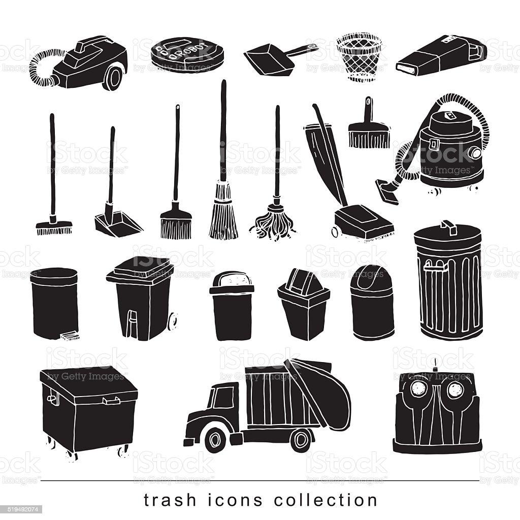 trash icons set, vector illustration vector art illustration