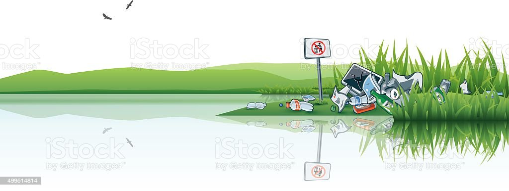 Trash in the Nature Water Littering Waste vector art illustration