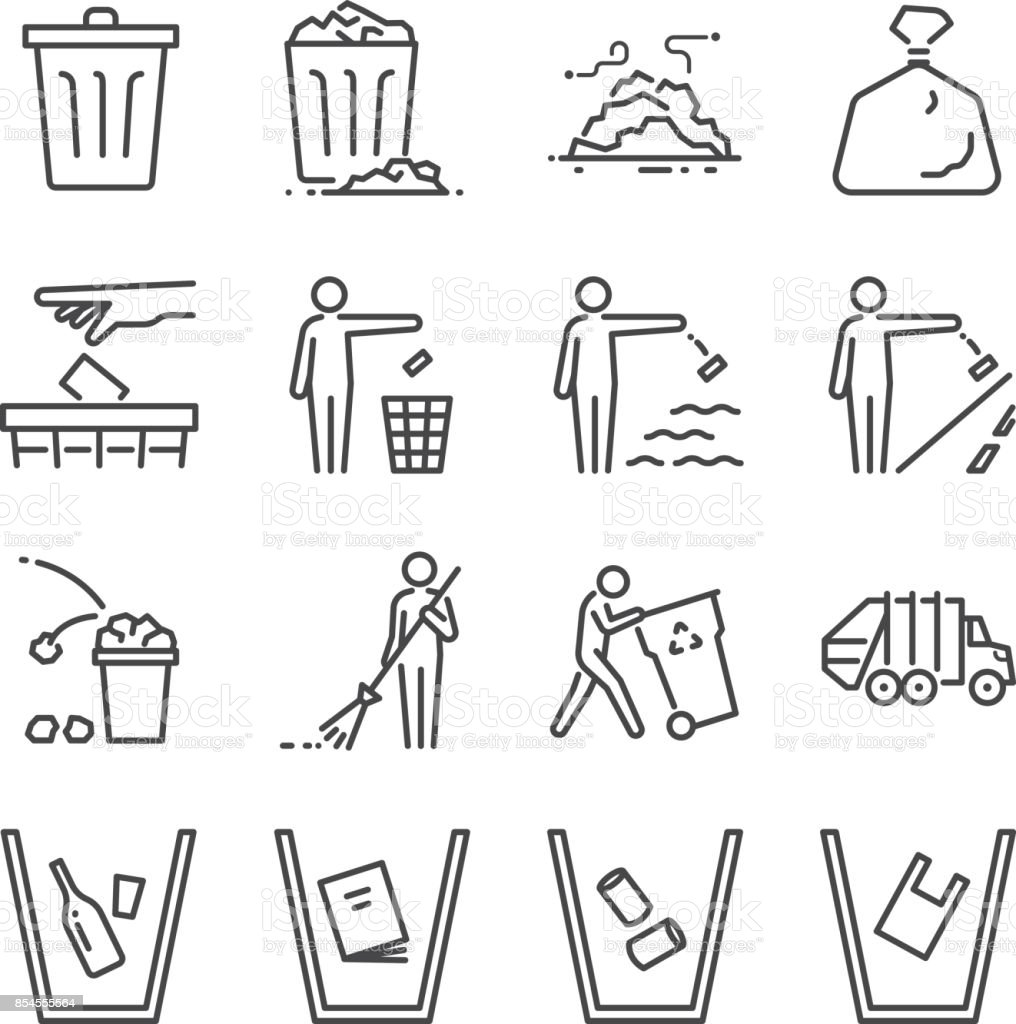 Trash line icon set. Included the icons as garbage, dump, refuse, bin, sweep, litter and more. royalty-free trash line icon set included the icons as garbage dump refuse bin sweep litter and more stock illustration - download image now