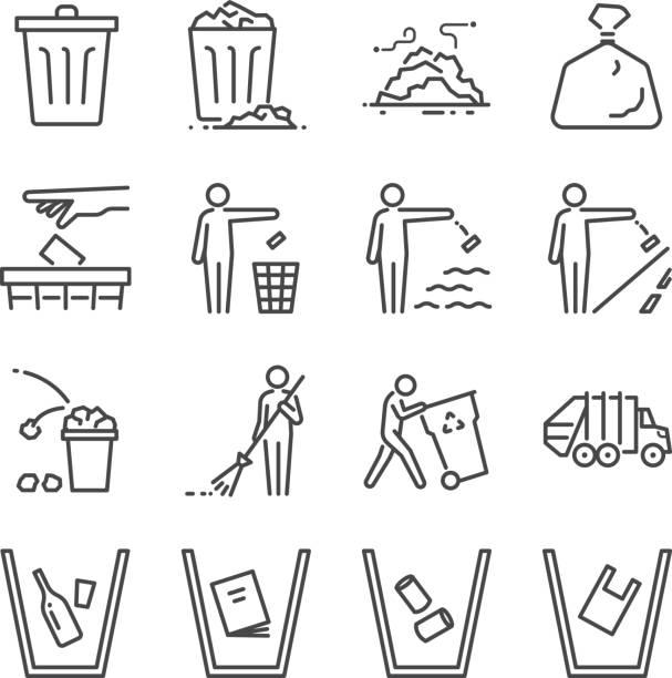illustrations, cliparts, dessins animés et icônes de jeu d'icônes corbeille ligne. inclus les icônes comme ordures, vidage, ordures, bin, balayage, litière et plus encore. - dechets