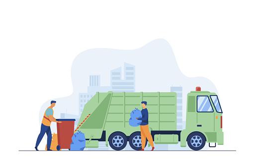 Trash pickup worker cleaning dustbin