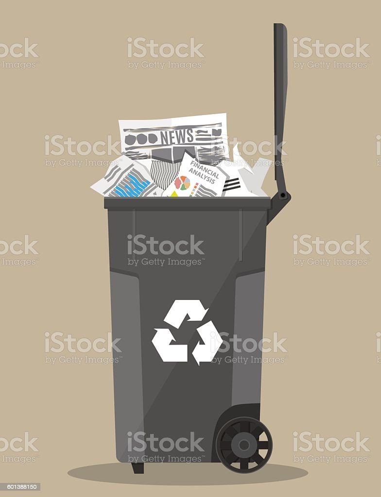 trash recycle bin container full of paper vector art illustration