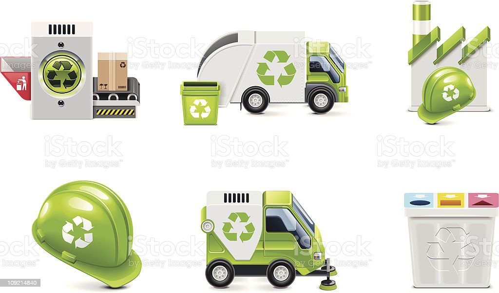 Trash recycling icon set vector art illustration