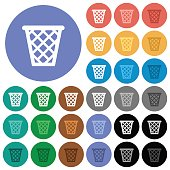 Trash round flat multi colored icons