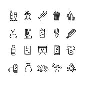 Trash Signs Black Thin Line Icon Set Include of Paper, Bag and Glass. Vector illustration of Icons