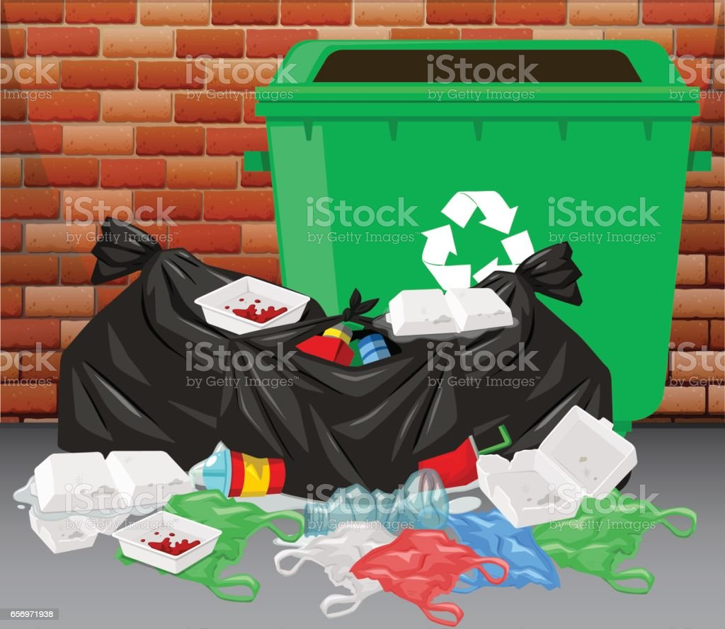 Trashcan and pile of dirty trash on the floor vector art illustration