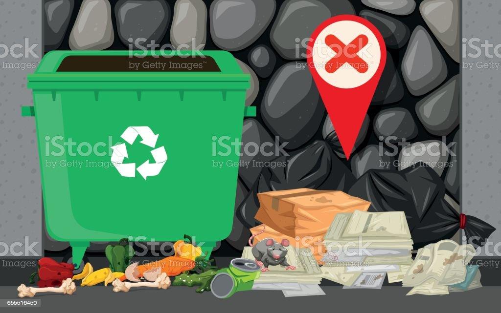 Lata de lixo e a pilha de lixo na rua - ilustração de arte em vetor