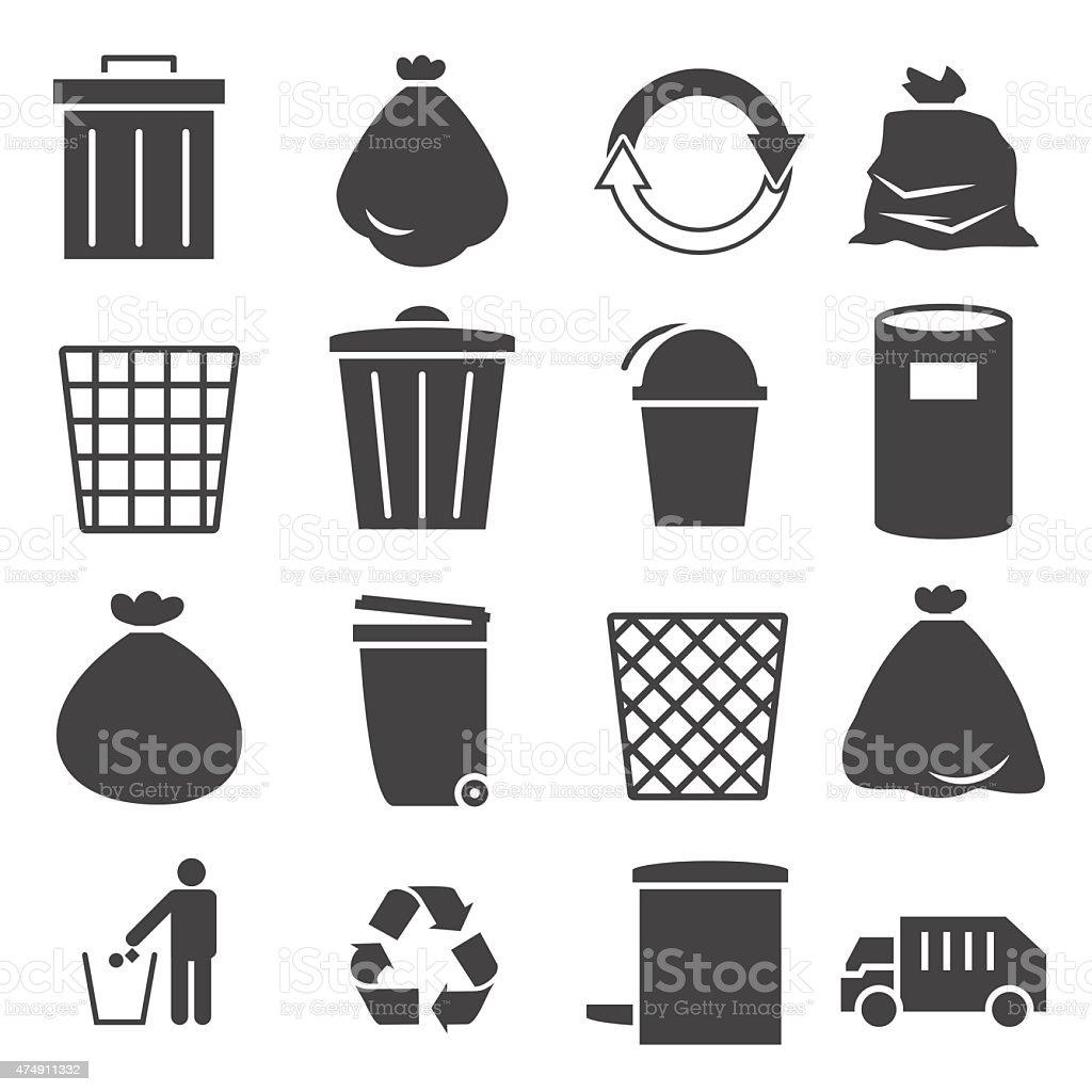 Conjunto de icono del recipiente para la basura - ilustración de arte vectorial