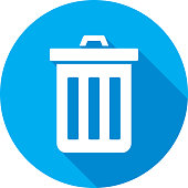 Vector illustration of a blue trashcan icon in flat style.