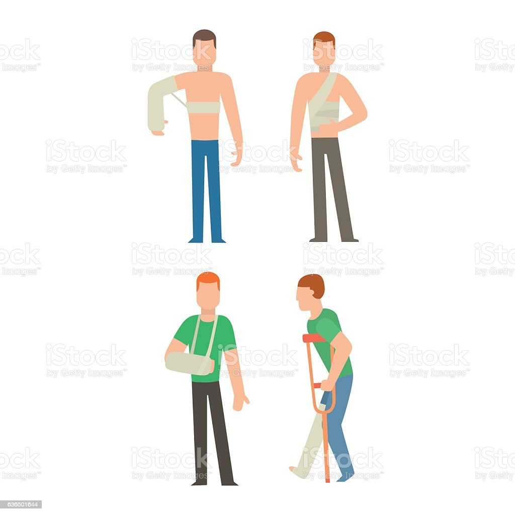 Trauma accident and human body safety vector people silhouette vector art illustration