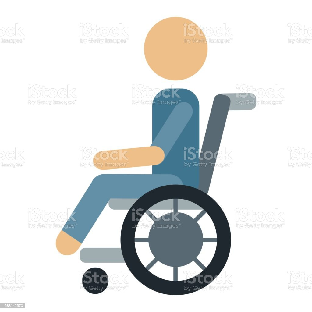 Trauma accident wheelchair safety vector human silhouette cartoon flat style man health vector art illustration