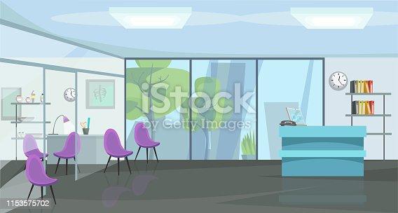 Traumatology cabinet flat vector illustration. Orthopedics, empty trauma clinic panorama. Physician office, diagnostic center with nobody inside. Hospital hall interior decor. Emergency room