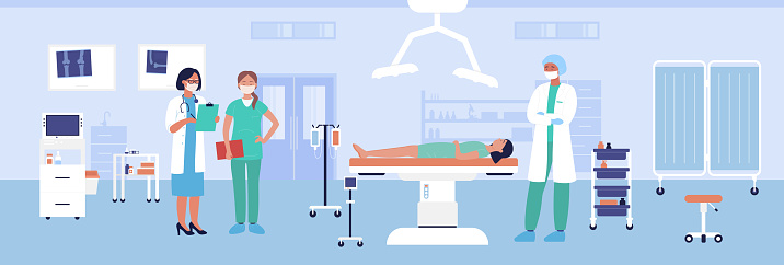 Traumatology surgery vector illustration, cartoon flat medical care procedure for treating injury of woman patient character background
