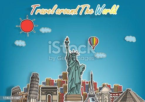 Travel around the World and landmarks on the globe.