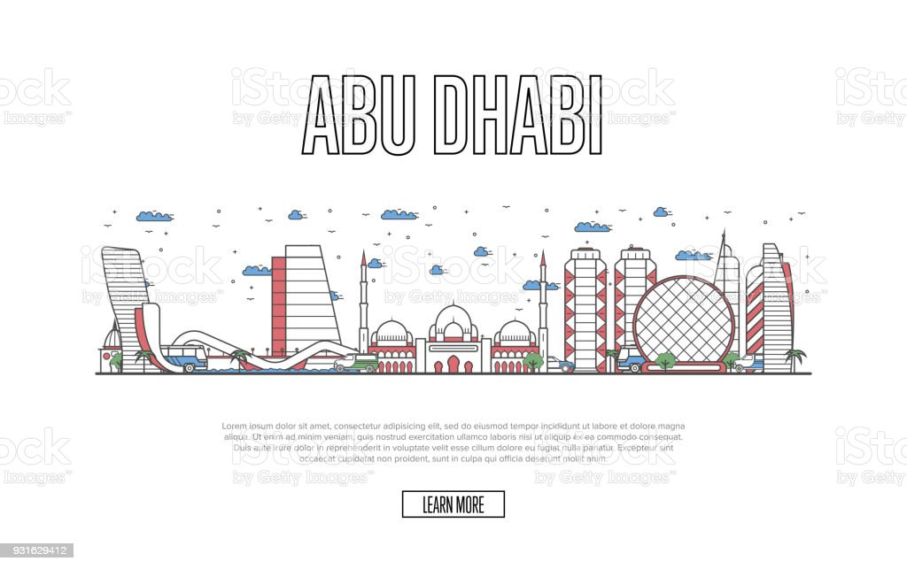 Travel Abu Dhabi poster in linear style vector art illustration